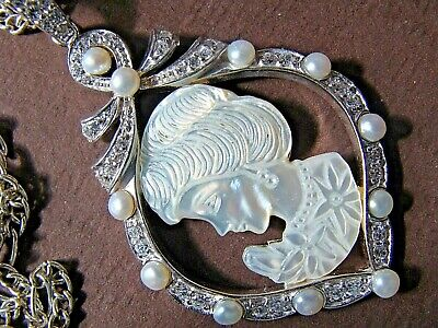 Mother Of Pearl Cameo Genuine Pearls 925 Sterling Silver Vintage Pendant Chain