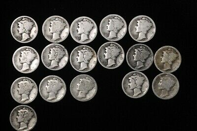 Lot of 17 Mercury Dimes  1916-1919  Some with mintmarks