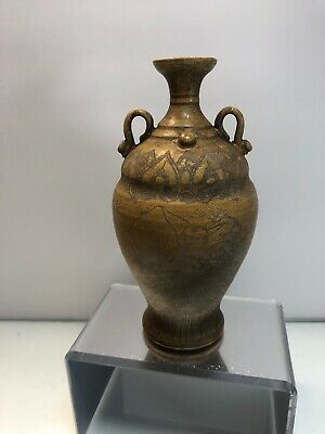 Rare OLD ANTIQUE CHINESE Yellow GLAZED EARTHENWARE POTTERY HAN HU VASE CHINA