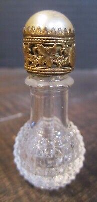 Czech Filigree pearl type top IRICE Stubby  Mini Crystal Perfume Bottle 1926