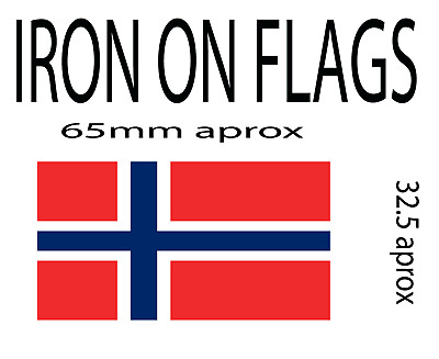 iron on flag x 2 of norway patch (other countries available)