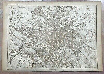ENGLAND PLAN OF LEEDS 1863 by B R DAVIES LARGE DETAILED ANTIQUE ENGRAVED MAP