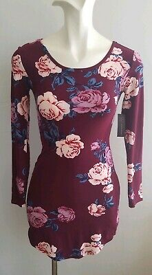 7bd503321f4 Junior NO BOUNDARIES maroon Floral Dress spring bodycon Strappy Back size XS