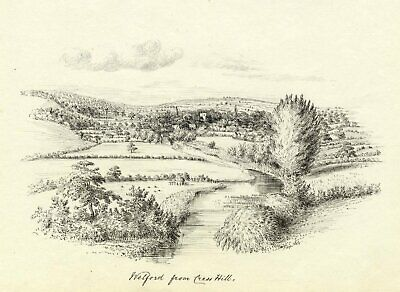 M.S. Smith, Cress Hill to Welford-on-Avon, Stratford-upon-Avon -1870 ink drawing