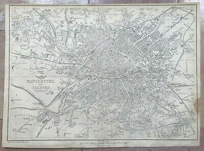 ENGLAND MANCHESTER & SALFORD 1863 by B R DAVIES LARGE DETAILED ANTIQUE PLAN