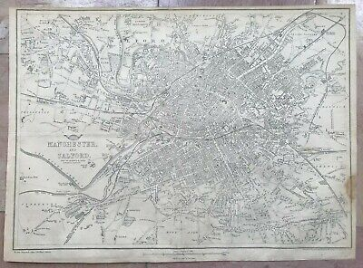 ENGLAND MANCHESTER & SALFORD 1863 by B R DAVIES LARGE DETAILED ANTIQUE MAP