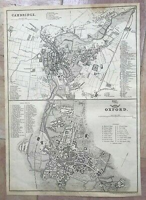 ENGLAND CAMBRIDGE & OXFORD 1863 by J W LOWRY LARGE DETAILED ANTIQUE MAP