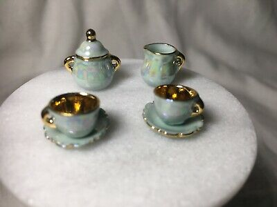 Dollhouse Miniature Lusterware Creamer Sugar 2 Cups And Saucers