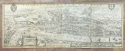 LONDON VERY LARGE BIRDS VIEW OF AGAS (1560) REPRINT IN 1863 by EDWARD WELLER