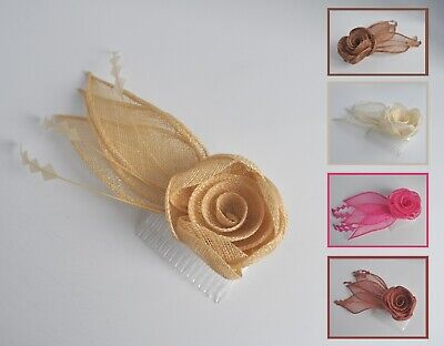 Cream/cerise/neon hot pink/rust sinamay & feather wedding fascinator hair comb