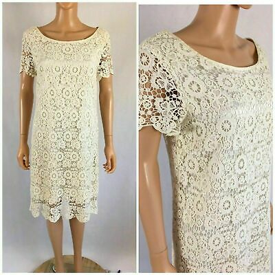 bcb204f04a7c Anthropologie Moulinette Soeurs Horkelia Shift Dress Ivory Cotton Lace Size  8