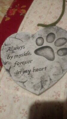 Heart Shaped Heavy Garden Pet Memorial Remembrance plaque..