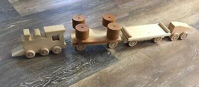 Hand Crafted Wooden Train 4 Piece Set Childs Toy Handmade Genuine Wood