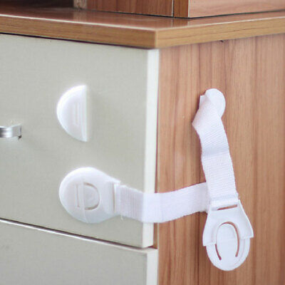 10X Baby Drawer Cupboard Cabinet Wardrobe Door Safety Lock with Adhesive Tape