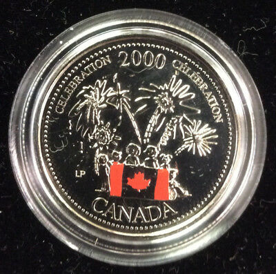 2000 Canada Day Millenium Celebration 25 Cent Coin Colorized quarter Not Silver