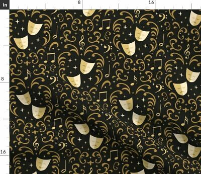 Tragedy And Comedy Theater Greek Drama Masks Fabric Printed by Spoonflower BTY