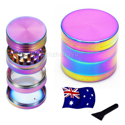 Metal Zinc Alloy Tobacco Herb Grinder 4-Layers Hand Muller Smoke Crusher OZ AU