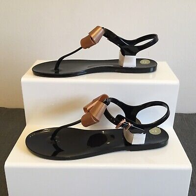 067bfd0d463385 Ted Baker sandals UK Size 6 Camaril Womens Black and rose gold Flip Flop