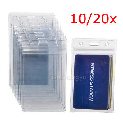 10x Clear Plastic ID CARD BADGE HOLDER POUCH PVC Lanyard Work Zip Lock Travel