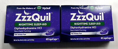 Lot of 2: Vicks ZzzQuil Nighttime Sleep Aid, 48 LiquiCaps 05/20