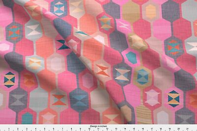Kilim Turkish Pink Spellstone Woven Rug Fabric Printed by Spoonflower BTY