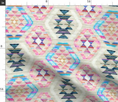Kilim Woven Textured Geometric Pink Cream Fabric Printed by Spoonflower BTY