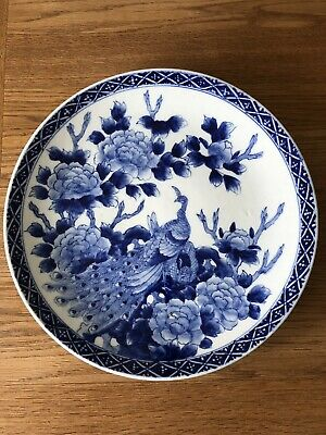 Japanese Meiji Period Porcelain Wall Charger Peacocks & Peonies Blue & White