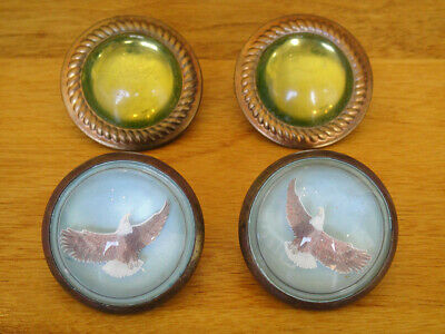 2 Pairs of Antique 1800's Horse Bridle Buttons or Rosettes