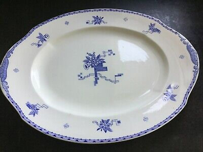 WH Grindley large plate/platter (The Oberon) white with blue.