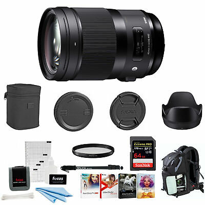 Sigma 40mm f/1.4 DG HSM Art Lens for Sony E with Filter and 64GB Bundle