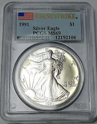 1991 American Silver Eagle 1 Oz. PCGS MS69 FIRST STRIKE Toning