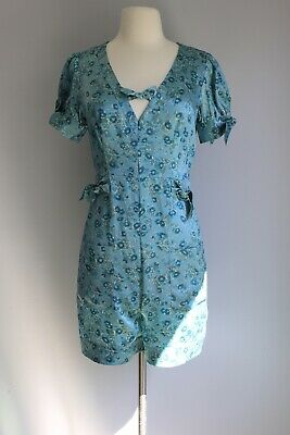 55552dba5737 vintage betsey johnson Blue Floral Silk Romper Size Small Jumpsuit Pin Up