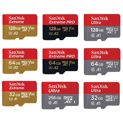 SanDisk Ultra/Extreme/Pro  16/32/64/128/256GB Micro SD Card (SDHC) Classe 10