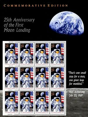 #2841 - 29¢  Moon Landing Issue - 25th Anniversary - MNH Sheet of 12- Face $3.48
