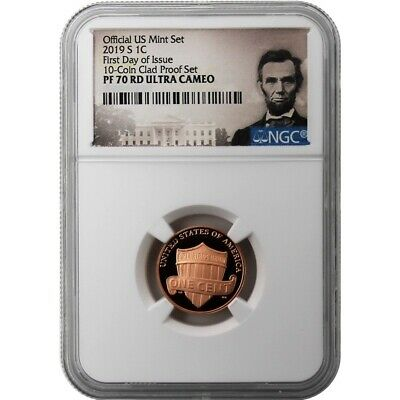 """2019-S Lincoln """"S"""" Mint Mark Cent FIRST DAY OF ISSUE NGC PF70RD"""
