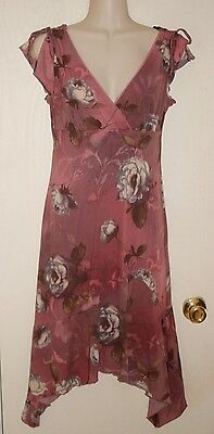 BYER TOO   Antique Rose Floral Stretchy Lined Dress Sz M * VERY GOOD ++ COND.