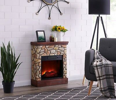 Stacked Stone Electric Quartz Fireplace Heater Ventless Fireplace