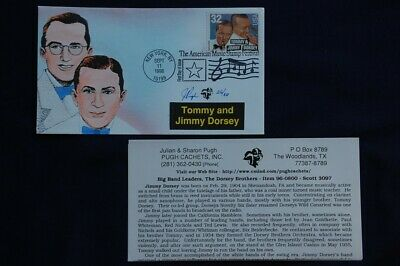 Big Band Leaders Tommy & Jimmy Dorsey Stamp FDC Handpainted Pugh 9/11/96 Sc#3097
