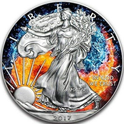 2017 $1 WATER AND FIRE YIN YANG AMERICAN EAGLE 1 Oz Silver Coin.