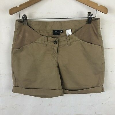Next Maternity Tan Cotton Shorts Sz 8 Low Cut EUC B6
