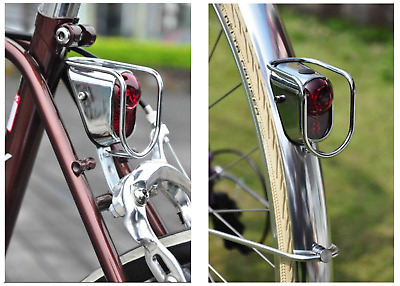 Still Vintage Classic Steel City Road Bicycle Bike LED Rear Tail Light Silver