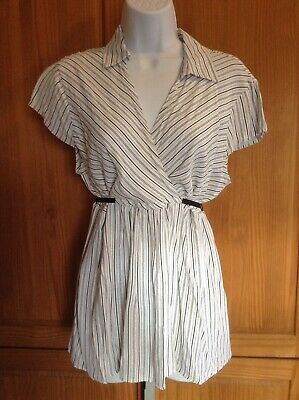 Oh Baby by Motherhood Womens XL Maternity Striped White Short Sleeve Shirt Top
