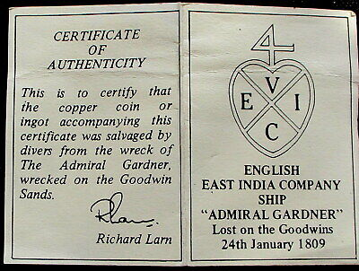 East India  Company Ship = 'admiral Gardner'-Lost In 1809 - Salvaged Coin -