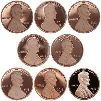 2010 Through 2017 S Proof Lincoln Shield Penny Set - 8 Coin Set