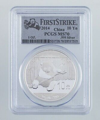 2014 China 10 Yuan Silver Panda Graded by PCGS as MS-70 First Strike