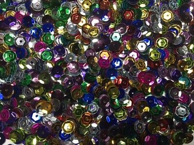Sequins - Cups - Multi Colours - 6mm - 20g - Approx 1000 Pieces - New