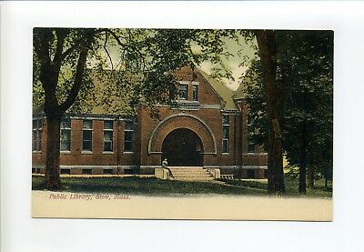 Stow MA Mass Public Library, man on steps, antique postcard