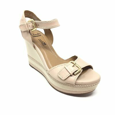 0a6472b4d29 Women s NEW Clarks Zia Castle Sandals Shoe Sz 6M Nude Leather Strappy Wedge  AA15