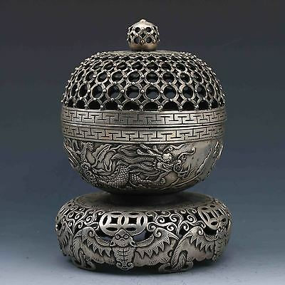 Exquisite Chinese Miao Silver Copper Hand-Carved Dragon Incense Burner