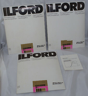 Ilford Gallerie 8x10 Paper 3 Grades 1.1K, 2.1K, 3.1K 75 Sheets Total Sealed
